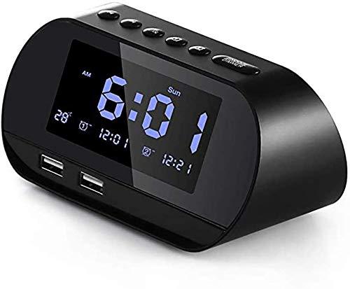 Reloj Despertador Digital Radio FM Reloj Despertador con Dos Puertos De Carga USB, Alarma Dual con 5 Sonidos De Alarma, RepeticióN De 10 Minutos 6 Atenuadores Pantalla De Temperatura 12/24 Horas