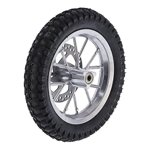 Conjunto de rueda delantera, neumático de goma y metal, pernos de rueda dentada de freno de disco de 12,5 x 2,75 pulgadas, aptos para mini bici de tierra de 47 cc 49 cc de 2 tiempos(Plata)