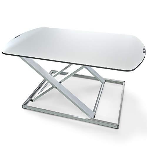 Deskfit 3in1 höhenverstellbarer Schreibtisch-Aufsatz 80cm   Stufenlose Pneumatik Gasfeder, hochwertige Aluminium Sitz-Steh Workstation, stabile Doppel-X Konstruktion, Laptoptisch   DF50 Monitorständer