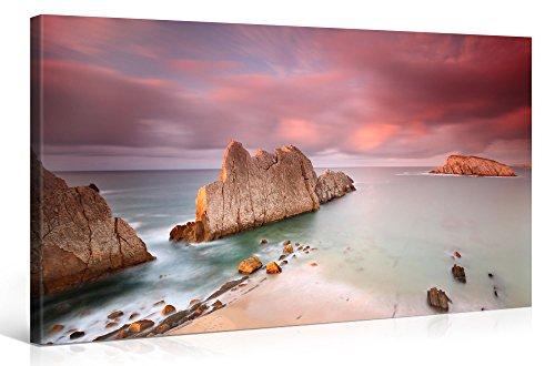 Gallery of Innovative Art – White Rock Formation At Beach – 100x50cm – Larga stampa su tela per decorazione murale – Immagine su tela su telaio in legno – Stampa su tela Giclée – Arazzo decorazione murale