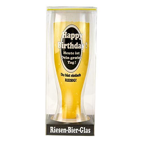 Riesen Bierglas mit Spruch (Happy Birthday): XXL Weizenbierglas zum Geburtstag mit Gravur - Biergeschenke für Männer und Frauen - Geschenkidee zum Vatertag, Männergeschenke