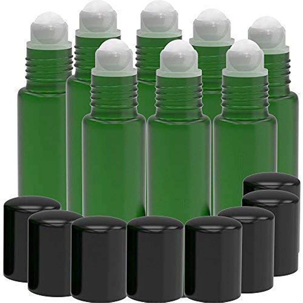 普及資金なので8 Pack - Essential Oil Roller Bottles [PLASTIC ROLLER] 10ml Refillable Glass Color Roll On for Fragrance Essential Oil - Metal Chrome Roller Ball - 10 ml 1/3 oz (Green) [並行輸入品]