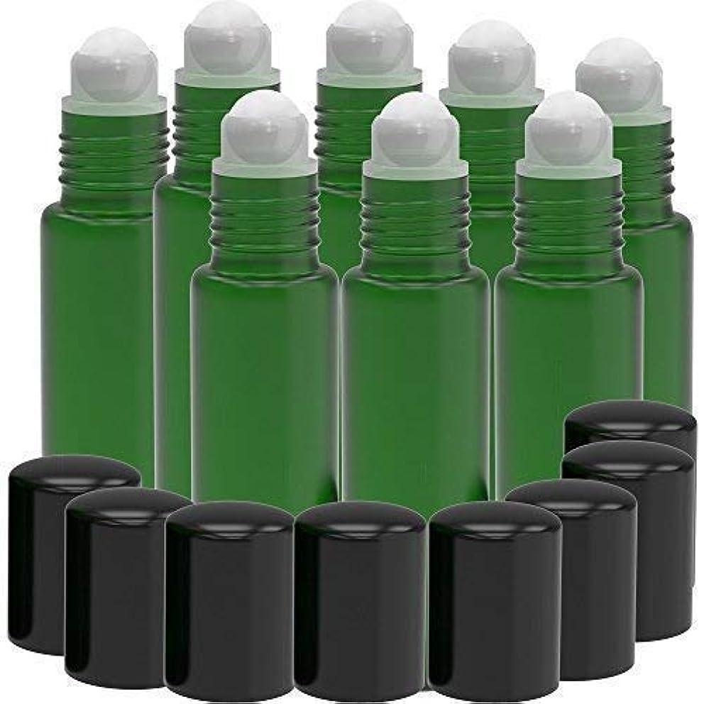 減るスロット逃れる8 Pack - Essential Oil Roller Bottles [PLASTIC ROLLER] 10ml Refillable Glass Color Roll On for Fragrance Essential Oil - Metal Chrome Roller Ball - 10 ml 1/3 oz (Green) [並行輸入品]