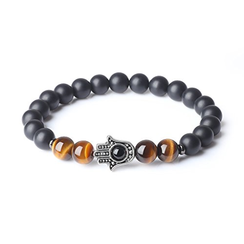 coai Onyx Tiger Eye Semi Precious Gems Mala Beads Stones Bracelet for Women S