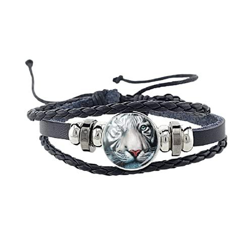 Nueva pulsera de cuero de tigre animal hecha a mano ajustable pulseras de cuerda negra joyería brazalete de cristal gema