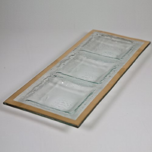 Annieglass Glass 3-Section Tray Roman Antique With Gold Rim