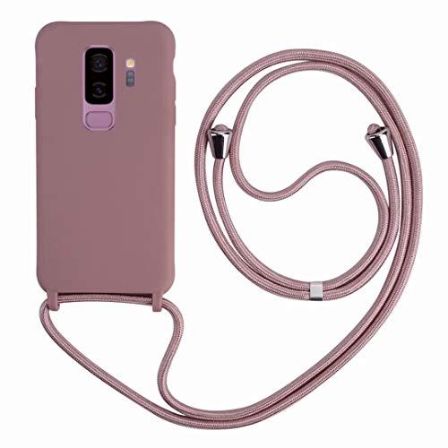 2ndSpring Funda con Cuerda Compatible con Samsung Galaxy S9 Plus,Colgante Collar Correa de Cuello Cadena Cordón,Silicona Suave Rose Gold