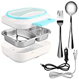 Portable Food Warmer - 3 Compartments Electric Lunch Box - Stainless Steel Spoon Fork -110 12v Heated Lunch Box With Car Adapter - Insulated Leakproof Hot Lunch Containers For Adults Kid Truck Driver