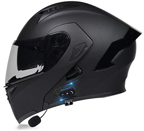 Moto Casco Flip Up Doble Lente Anti-Niebla Full Face Bluetooth Cascos Certificación Dot/ECE Casco Bobber Chopper Cruiser Racing Cap Cascos Altavoz Incorporado Micrófono F,M