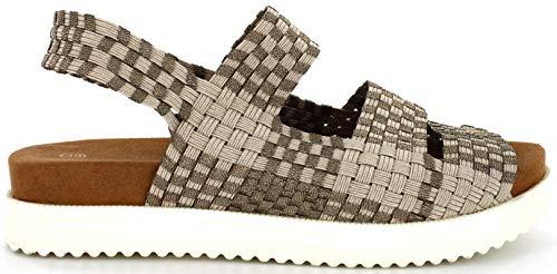 B M Bernie Mev New York Women's Crisp Woven Platform Sandal - Una Sandalia Bio, ulta Ligera, Muy conftable, pasear (Light Gold Bronze W/Sole, Numeric_39)