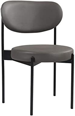 Round Dining Chair, Leather Metal with Sponge Back Seat, Home Makeup Reception Stool, Suitable for Living Room, Kitchen, Shop