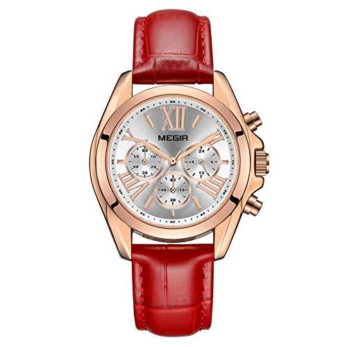 Reloj Mujer Reloj de Pulsera para Mujer (Cuarzo, Resistente al Agua, Correa de Piel auténtica) (2114 Rojo)