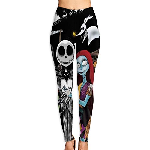 Pomue The Ni-GHT-mare Before Christmas Yoga Pants for Women High Waist Stretch Women Leggings for Workout Training Running
