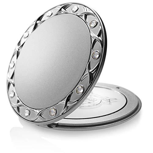Make Up Taschenspiegel Swarovski Steine: Silber, zweiseitig, normal und 10-fache Vergrößerung - Makeup Spiegel 8,5 cm, runder Klappspiegel als Handspiegel von Fantasia