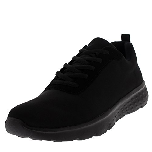 Hombre Get Fit Malla Corriendo Entrenadores Atlético para Caminar Gym Zapatos Sport Correr - Negro/Negro Jersey GW0005 11UK/45