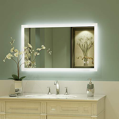ExBrite 40 x 24 inch Backlit LED Lighted Bathroom/Vanity Mirror+Anti Fog+Dimmable+Touch Button+Slim+90 -