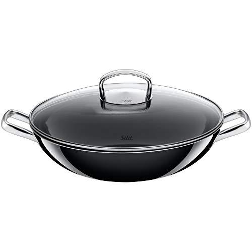 Silit Wok met glazen deksel, Ø 32 cm, Silargan functionele keramiek, geschikt voor inductie, vaatwasmachinebestendig, zwart