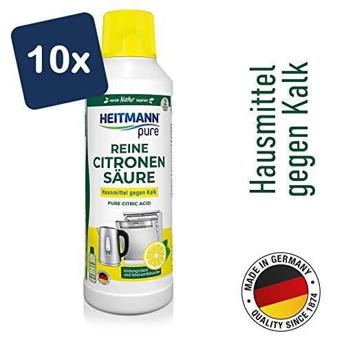 HEITMANN pure Reine Citronensäure: Ökologischer Bio-Entkalker, Reinigung für Küche & Bad, flüssig, 10x 500 ml