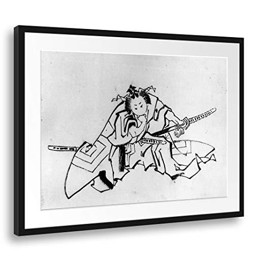 Printed Paintings Passepartout (80x60cm): Escuela de Katsushika Hokusai - El Actor Danjuro como Shibaraku
