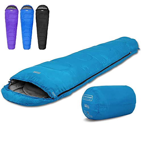 Highlander 2-Jahreszeiten-Schlafsack Sleepline 250 Mummy Schlafsack - Ideal für Camping, Wohnmobilausflüge, Festivals oder Übernachtungen - In vielen tollen Farben erhältlich (azurblau)