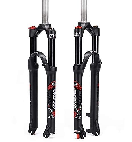 BUCKLOS Mountain Bicycle Suspension Forks, 26/27.5/29 inch MTB Bike Front Fork with Rebound Adjustment, 100mm Travel 28.6mm Threadless Steerer