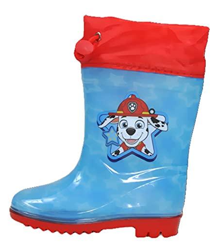 Gummistiefel kompatibel zu PAW PATROL Kinder Gr.24 Jungen Regenstiefel Blau - Rot Chase Marschall Feuerwehr Size 24