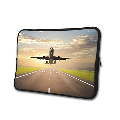 Neoprene Computer Pouch Case Airplane Landing at Airport Fashion Laptop Sleeve Bag for 13-15' Inch Laptop Computer Designed to Fit Any Laptop/Notebook/Ultrabook/MacBook