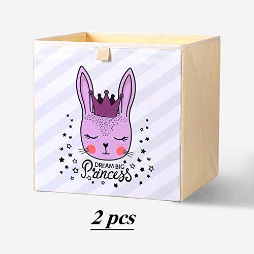 Cube de Rangement Tissu,Boîte À Jouets Pliable pour Enfants, Jouets pour Enfants, Vêtements pour Bébé, Livres pour Enfants, Paniers-Cadeaux (2pcs) (Reine de Lapin