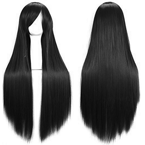 AKStore Wigs 32' 80cm Long Straight Anime Fashion Women's Cosplay Wig With Free Wig Cap(Black)