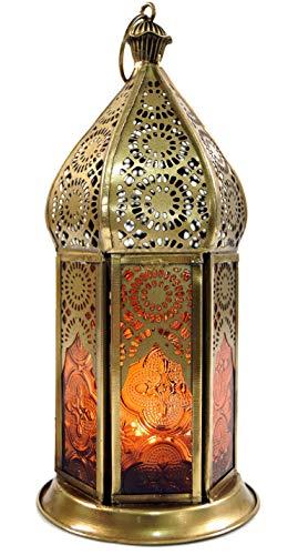 Guru-Shop Orientalische Metall/Glas Laterne in Marrokanischem Design, Windlicht, Orange, Farbe: Orange, 21x9,5x9,5 cm, Orientalische Laternen