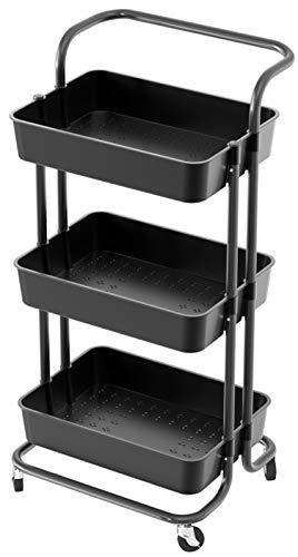Carrito organizador de almacenamiento con asa y ruedas con ruedas para guardería y manualidades, 3 niveles (negro, 3 niveles)