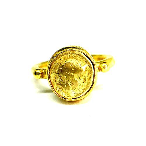 izmirjewelry Handmade Bronze Roman Coin Stack Ring 24K Gold Over 925K Sterling Silver