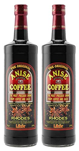 2x 1,0l Kaffee Ouzo Likör 21% | Das Original von Rhodos | Anis Coffee Aigaion | + 1 x 20ml Olivenöl
