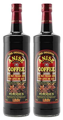 "2x 1,0l Kaffee Ouzo Likör 21{9fe87c7dfa25288617de43af12125ac9c8a10ef01a14d4a549f4fe70ff05b82c} | Das Original von Rhodos | Anis Coffee Aigaion | + 1 x 20ml Olivenöl\""ElaioGi\"" aus Griechenland"