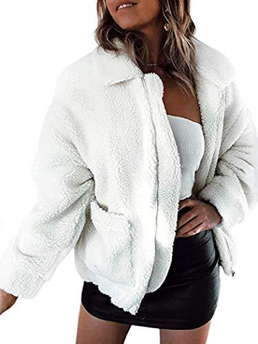 Gets Women Fuzzy Jacket,Casual Long Sleeve Lapel Faux Fur Jackets Shearling Outwear Fleece Shaggy Coat for Winter (White,XXXL)