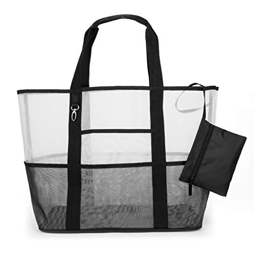 Lowest Prices! Leaf2you Transparent Mesh Beach Bag Toy Tote Bag Grocery Storage Net Bag Toiletry Bag Travel Makeup Pouch Sundry Bag Cosmetics and Toiletries Organizer Bag (Clear)