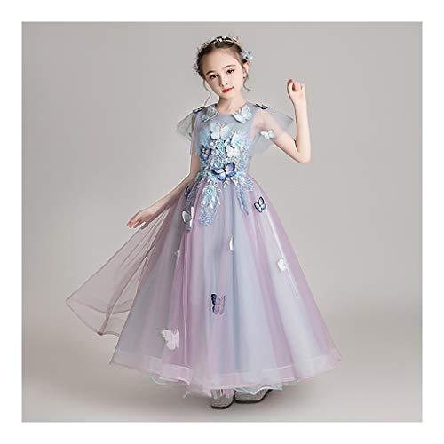 Potya-A Nias Vestidos de Noche de Las nias Occidental-Estilo de la Princesa Faldas de la Flor nias Muestra hinchada de champ Disfraces Infantiles anfitrin del Piano 0319-Q (Size : 150cm)