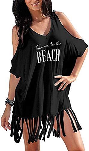 TBSCWYF Vestido de Playa Mujer Suelto Pareos Playa V-Cuello Camisolas y Pareos Bikini Traje de Baño Cover up Tunica Talla Grande Vestido Suelto de Bikini Mujer Ropa de Baño (Negro)