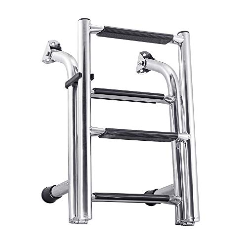 White Water B00361 Stainless Transom Mount Folding Stern Ladder - 4 Step