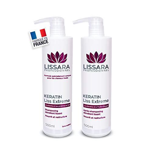 Duo Shampoing et Après-Shampoing Sans Sulfate - Sans Silicone - Sans Paraben - à la kératine - Prolongateur Apres Lissage Brésilien - Fabriqué en France - 2 x 500ml