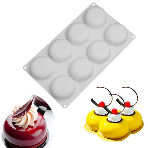 Silicone Cake Mold for Baking,8 Holes 3D Stone Round Shape Silicone Mousse Cake Pop Form,Non-Stick Candy Chocolate Jelly Baking Mould Tray,Pastry Cheesecake Pudding Bread Decorating Tool for Homemade