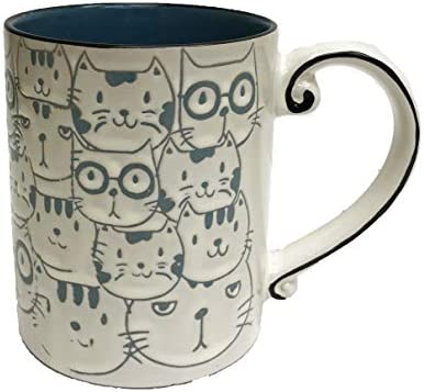 Cute Quirky Repeating Cat Faces Novelty 16 oz Coffee Tea Coco Drink Gift Mug product image