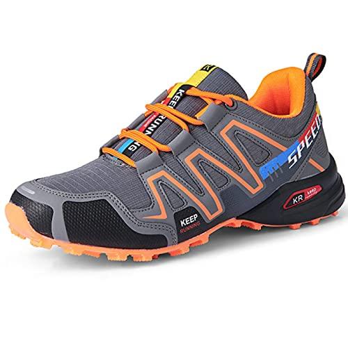 AGYE Chaussures de Cyclisme, Vélo Chaussures Hommes,Chaussures de Vélo Antidérapantes Vélo de Route Chaussures de VTT VTT,Orange-42