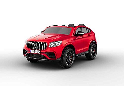 Babycar Mercedes GLC Coupe 63 AMG - Coche eléctrico para niños de 2 plazas (rojo) con licencia de 12 V, batería con mando a distancia de 2,4 GHz, puertas abatibles con MP3, asiento de piel