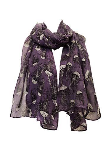 Pamper Yourself Now Lila Qualle-Entwurfs-Schal- Purple Jellyfish Design Scarf
