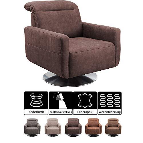 CAVADORE Drehsessel Gizmo / Drehbarer Sessel in Lederoptik mit Kopfteilverstellung und Federkern / 78 x 86 x 100 / Mikrofaser, dunkelbraun