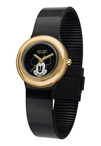 Hip Hop Watches - Damen Hip Hop Jubiläum Sonderedition Disney Uhr Micky Mouse - Micky Metall Kollektion - Silikonarmband - 32mm Gehäuse - Wasserdicht - Schwarz - Quarzwerk