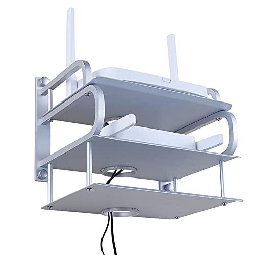 estante de pared Rack de enrutador de caja de aluminio espacial, montaje en pared WIFI Soporte de caja de almacenamiento, bastidor sin punch, control remoto de 180 ° diseño abierto, sin obstrucción. e