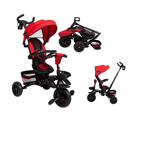 Kinbor Baby Tricycle 7 in 1 Foldable Steer Stroller with Learning Bike w/Detachable Guardrail, Adjustable Canopy, Safety Harness, Storage Bag, Brake, Shock Absorption Design for Toddler Boys and Girls