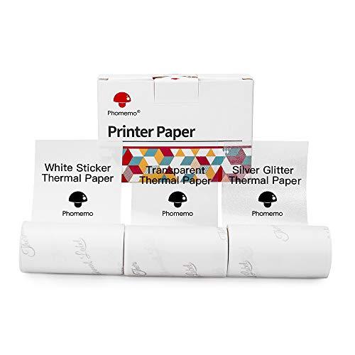M02 / M02Pro / M02S Druckerpapier - Kompatibel mit Phomemo, 50 mm Thermopapier, gemischtes Set aus transparentem/silbernem Glitzer/weißem Papier, selbstklebendem Etikett, 3 Rollen